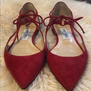 Jimmy Choo red suede flats